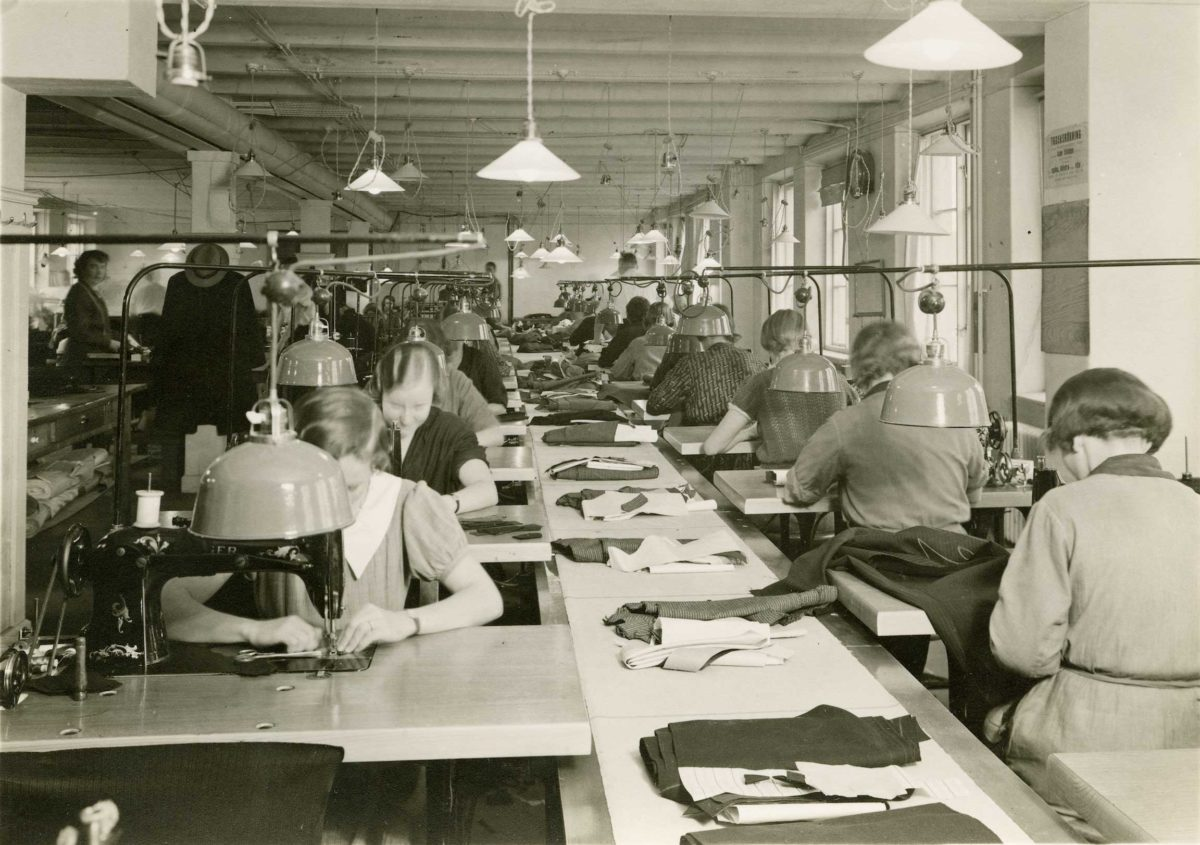 Each suit goes through up to 80 different process on the production line